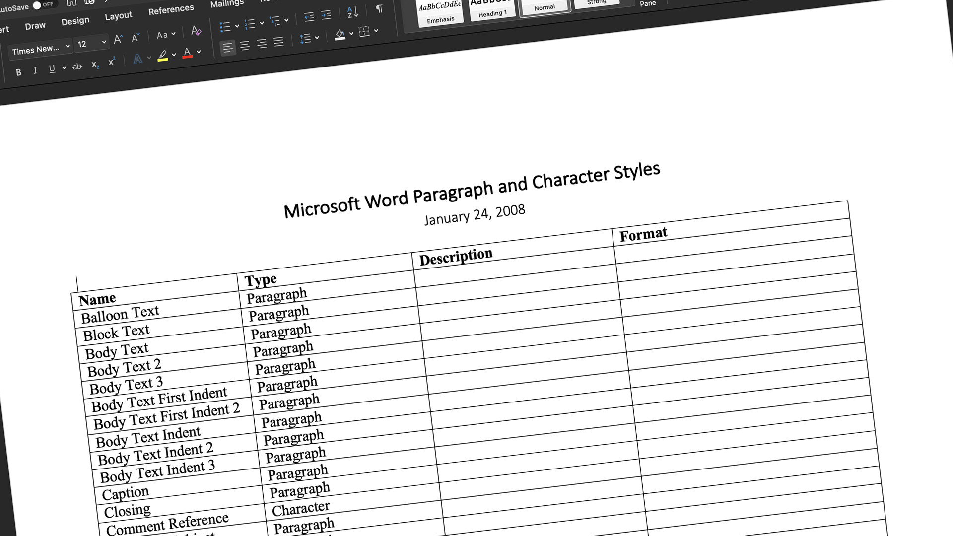 A Word doc listing all the standard Microsoft Word paragraph and character styles.