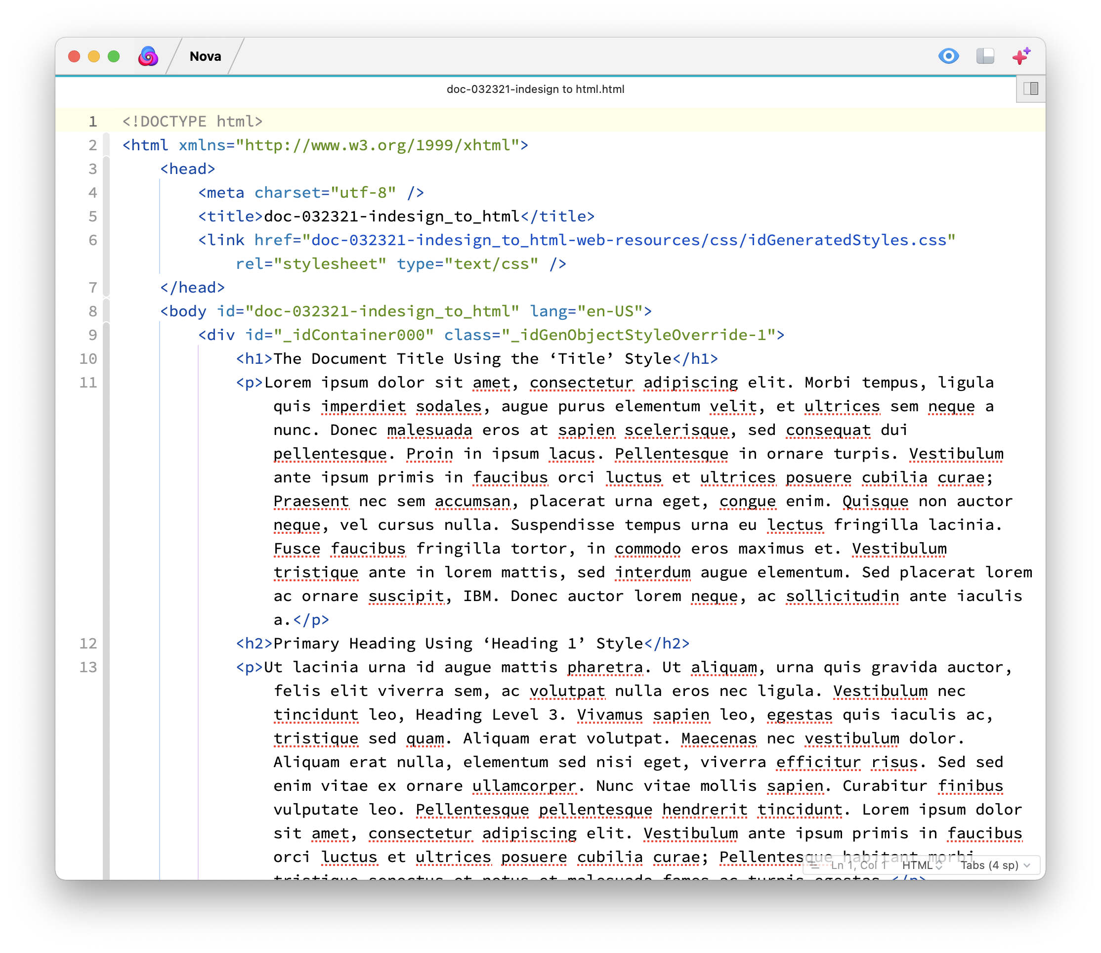 The first HTML export in Nova, my favorite code editor for the Mac.