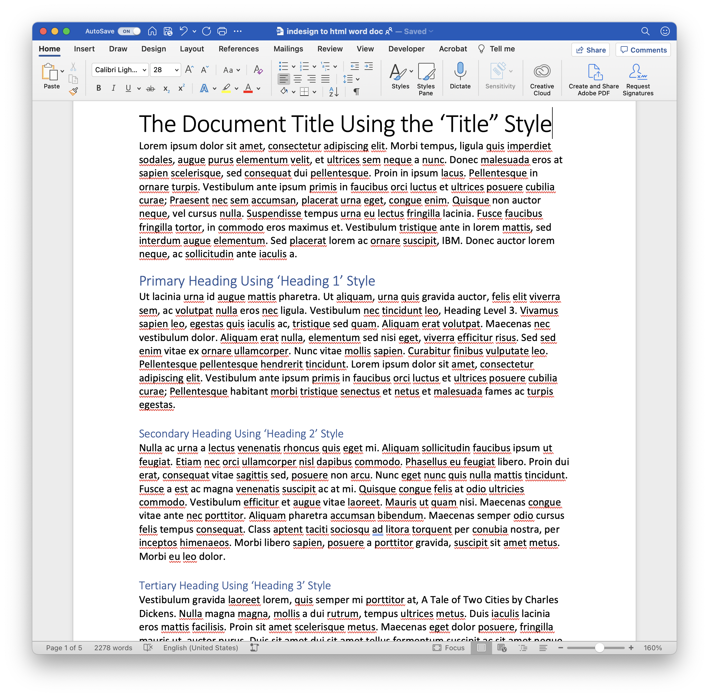 Word doc with Title, Heading 1, Heading 2, Heading 3 and Normal paragraph styles in use.