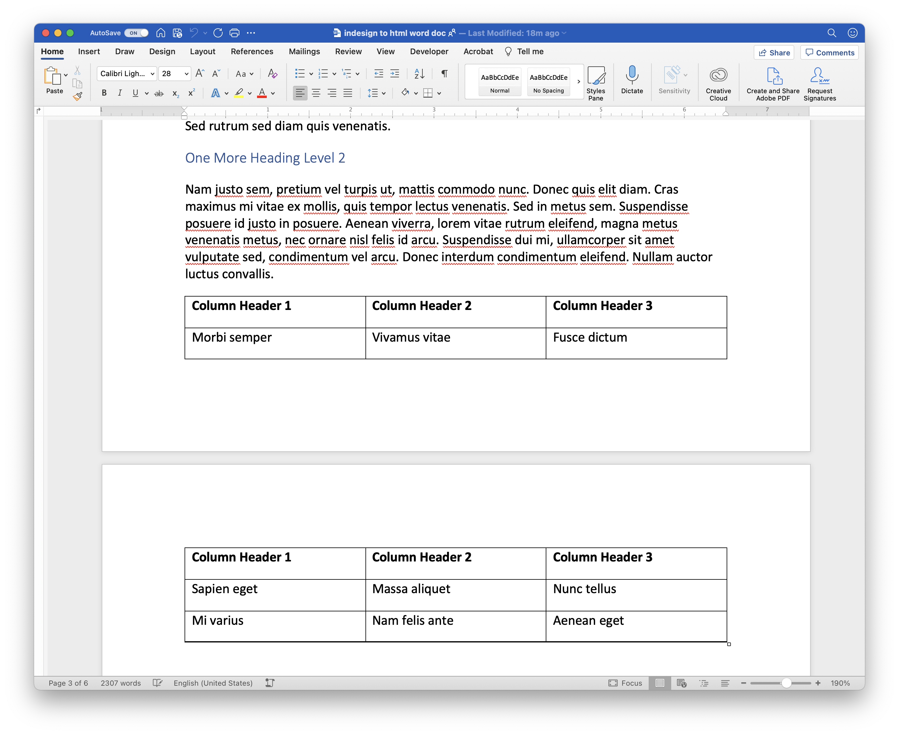 Added a simple table to the source Word document.