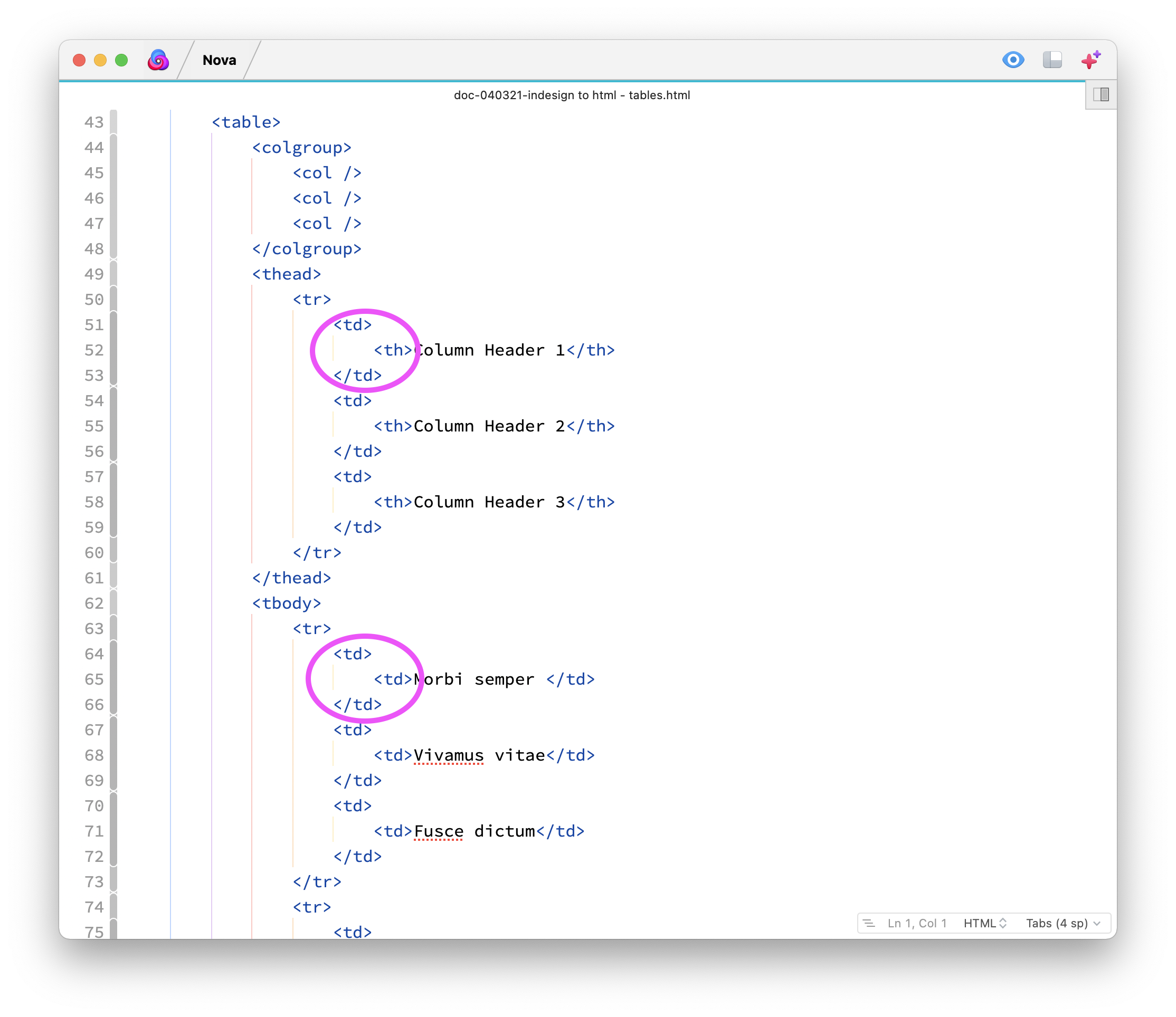 The <th> and <td> tags are duplicated because I mapped the paragraph styles to them.